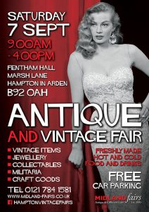 Midland Vintage And Antique Fair Saturday 7th September 2019