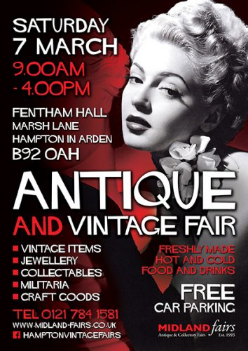 Midland Vintage And Antique Fair Saturday 7th March 2020